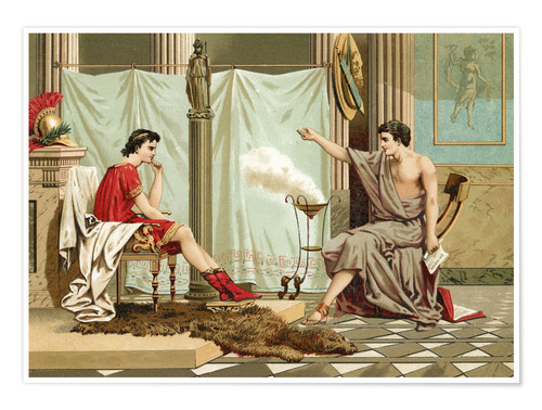 Premium poster Alexander the Great is taught by Aristotle