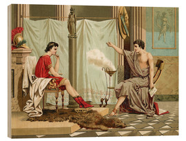 Wood print  Alexander the Great is taught by Aristotle - Jose Armet Portanell