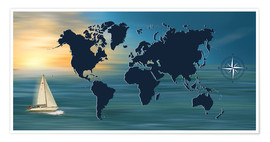 Premium poster Sailing around the world with world map