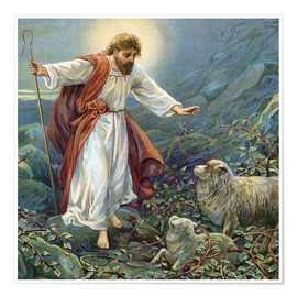 Premium poster Jesus Christ, the tender shepherd