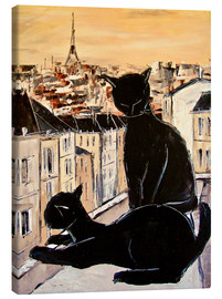 Canvas print  Cats love over the rooftops of Paris - JIEL