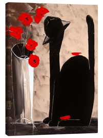Canvas print  BLACK CAT WITH POPPIES - JIEL