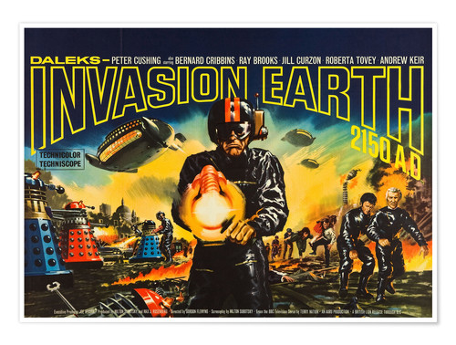 Premium poster DALEKS' INVASION EARTH: 2150 A.D., British 1966.