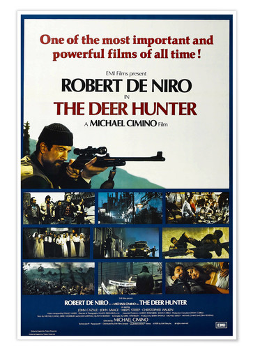 Premium poster THE DEER HUNTER, British poster, Robert De Niro (top left), 1978