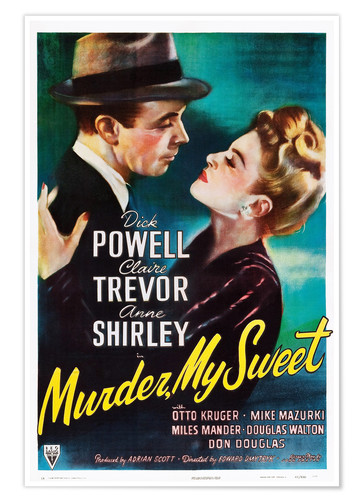 Premium poster MURDER, MY SWEET, from left, Dick Powell, Claire Trevor, 1944