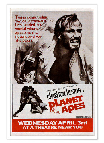 Premium poster PLANET OF THE APES, top: Charlton Heston, 1968