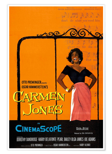 Premium poster CARMEN JONES, Dorothy Dandridge, 1954.20th Century Fox Film Corp.