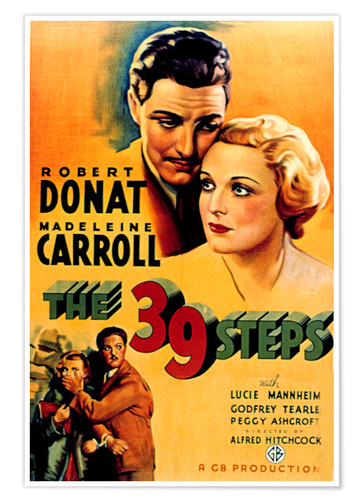 Premium poster 39 STEPS, THE, Robert Donat, Madeleine Carroll, 1935