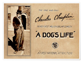 Premium poster A Dogs Life, Charlie Chaplin poster Photo 1918