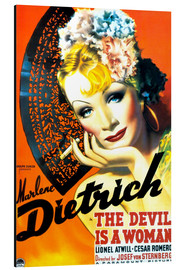 Aluminium print  THE DEVIL IS A WOMAN, Marlene Dietrich, 1935 Poster Art