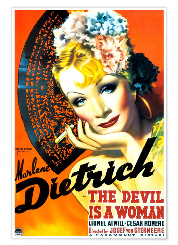 Premium poster THE DEVIL IS A WOMAN, Marlene Dietrich, 1935 Poster Art