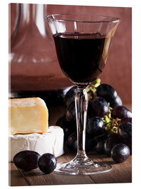Acrylic glass  Cheese platter with wine - Edith Albuschat