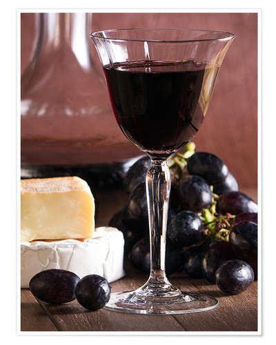 Premium poster Cheese platter with wine