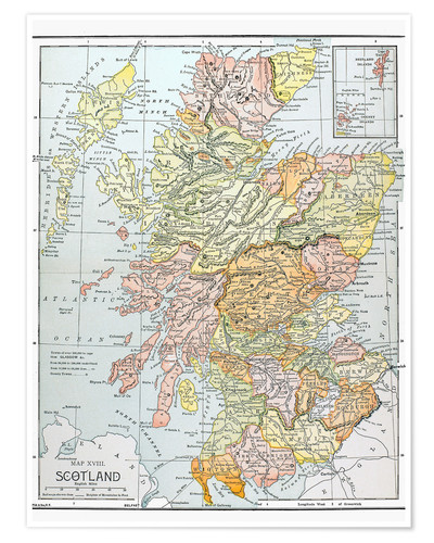 Map Of Uk And Scotland.Premium Poster Map Of Scotland