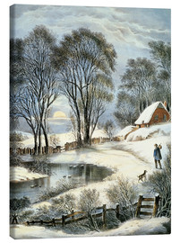 Canvas print  Currier & Ives: Winter Moonlight. - N. & J.M. Currier & Ives