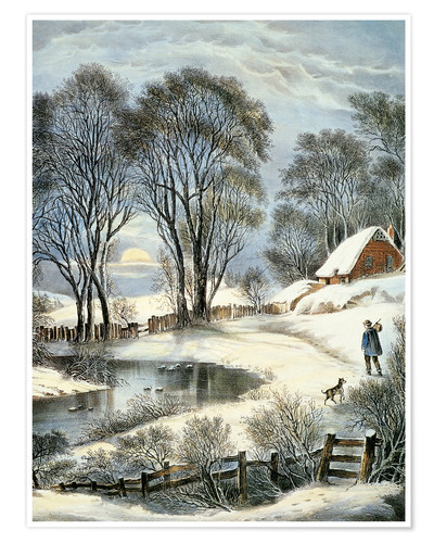 Premium poster Currier & Ives: Winter Moonlight.