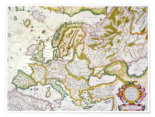 Premium poster Map of Europe around 1569