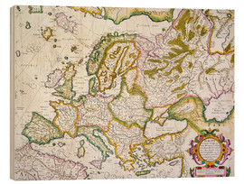 Wood print  Map of Europe around 1569 - Gerardo Mercatore