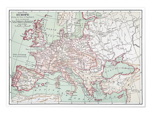 Premium poster Map of Europe from 1812 (English)