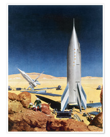 Poster  Mars Mission, 1950s. - Chesley Bonestell
