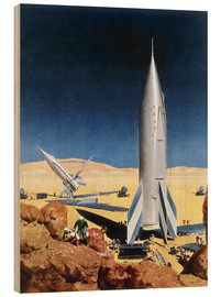 Wood print  Mars Mission, 1950s. - Chesley Bonestell