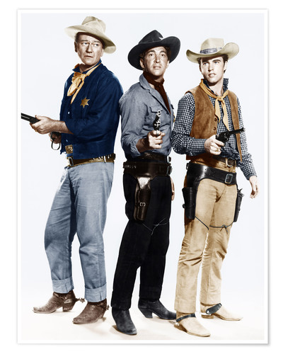 Premium poster John Wayne, Dean Martin and Ricky Nelson as cowboys
