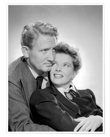 Premium poster Spencer Tracy and Katharine Hepburn