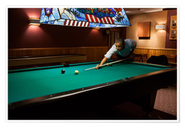 Premium poster President Barack Obama plays a game of pool
