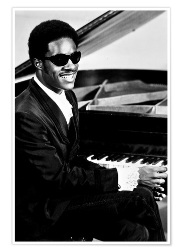 Premium poster Stevie Wonder at the piano