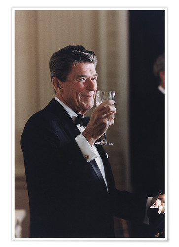 Premium poster Ronald Reagan with wineglass