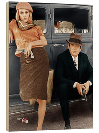 Wood print  Bonnie and Clyde