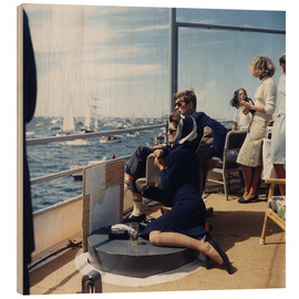 Wood print  JFK and Jacqueline Kennedy sailing