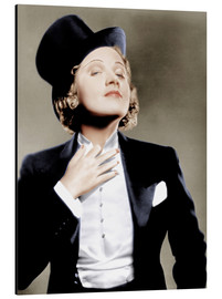 Aluminium print  Marlene Dietrich with a suit and cylinder