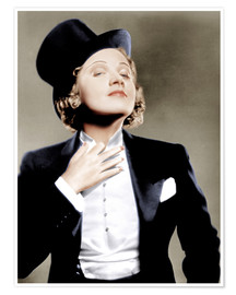 Premium poster  Marlene Dietrich with a suit and cylinder