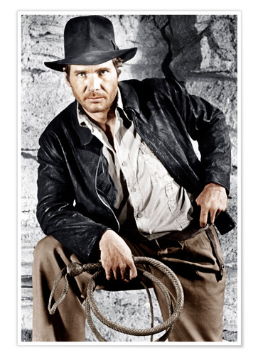 Premium poster Harrison Ford with hat and lasso