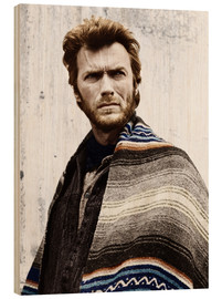 Wood print  Clint Eastwood with a poncho