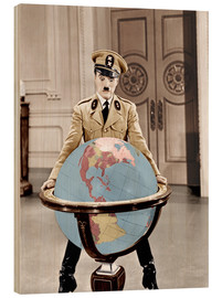 Wood print  The Great Dictator - Charlie Chaplin