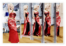 Premium poster Marilyn Monroe in front of mirrors