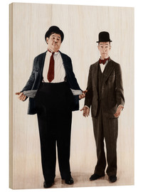 Wood print  Laurel & Hardy with empty pockets
