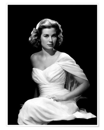 Premium poster Grace Kelly in a white dress