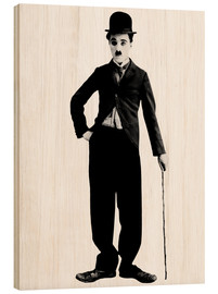 Wood print  Charlie Chaplin with walking stick