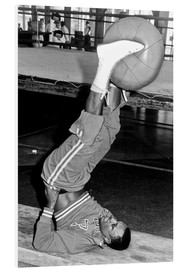 Foam board print  Joe Frazier during training with a medicine ball