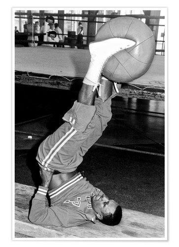 Premium poster Joe Frazier during training with a medicine ball