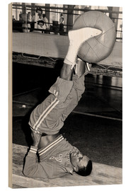 Wood print  Joe Frazier during training with a medicine ball