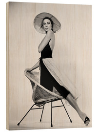Wood print  Grace Kelly with hat