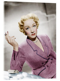 Acrylic glass  Marlene Dietrich, wearing a suit by Christian Dior