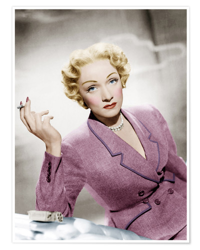 Premium poster Marlene Dietrich, wearing a suit by Christian Dior