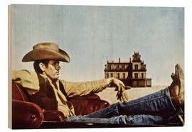 Wood print  James Dean as a cowboy