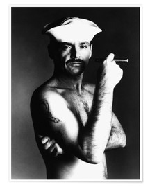 Premium poster Jack Nicholson with sailor hat and cigar