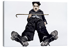 Canvas  Charlie Chaplin with roller skates